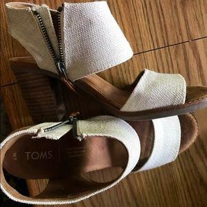 Toms Block Heel Cutout Sandals